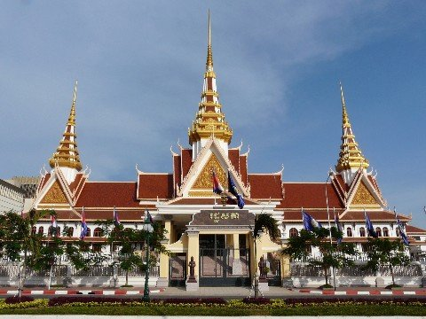 The National Assembly building in Phnom Penh