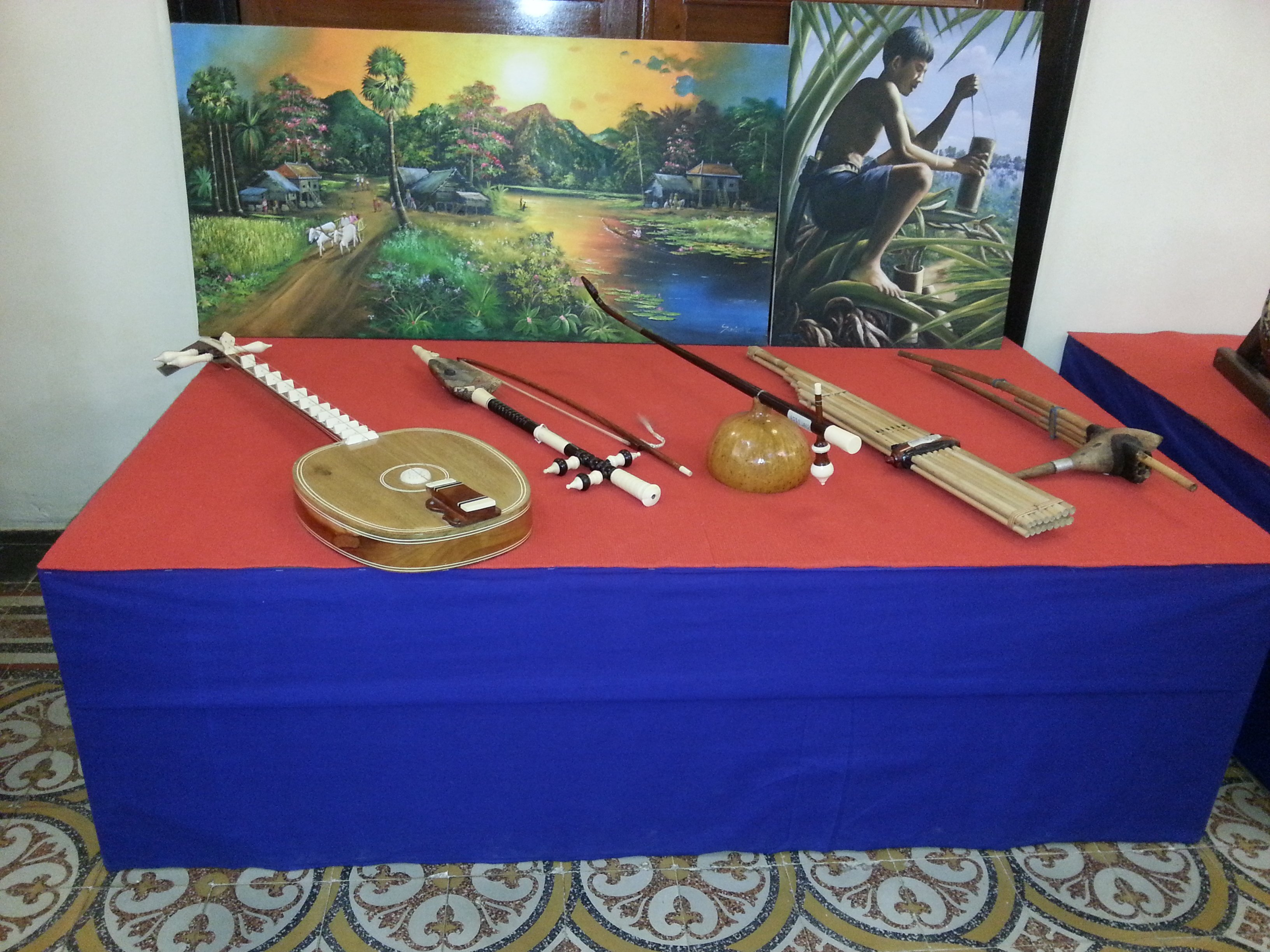 Cambodian musical instruments on display