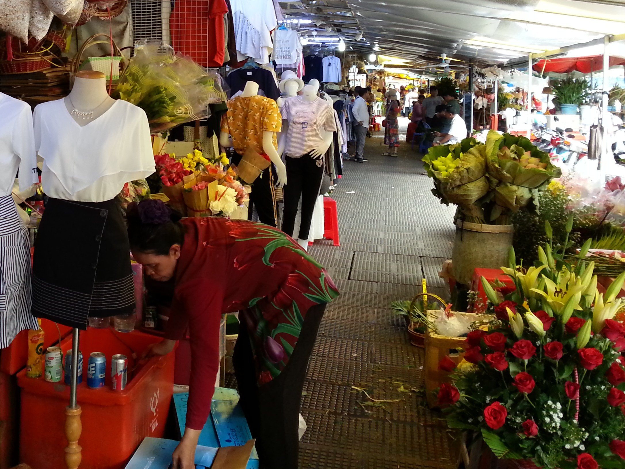 Flower stalls around the outside of Central Market