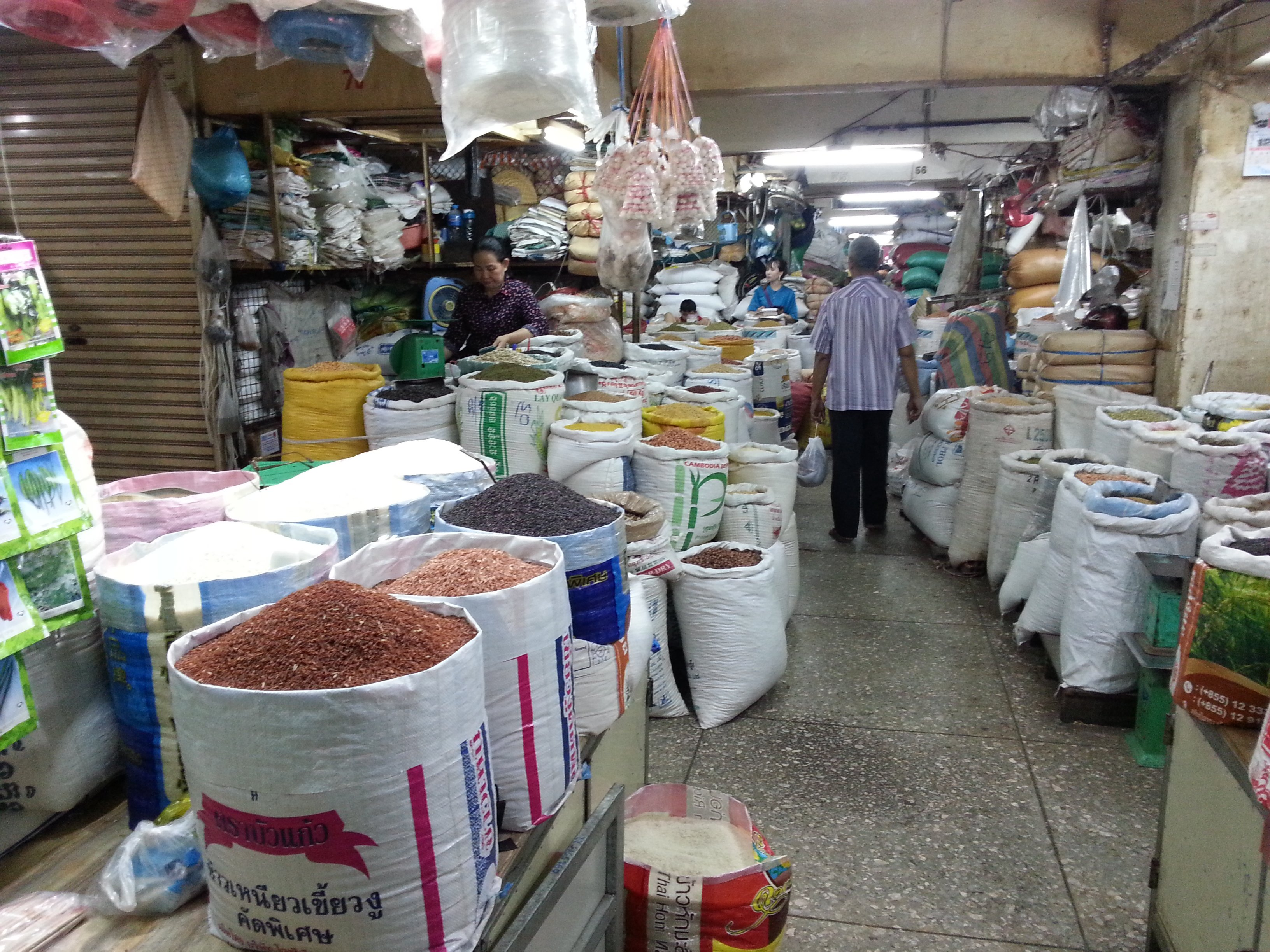 Spices and pulses on sale in Orussey Market
