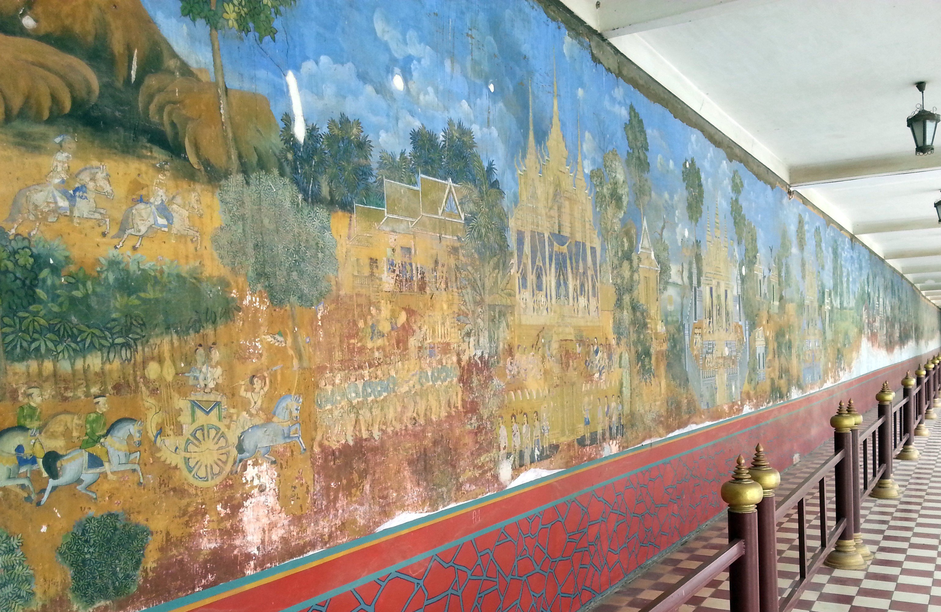 Mural of the Reamker on the walls around the Silver Pagoda compound