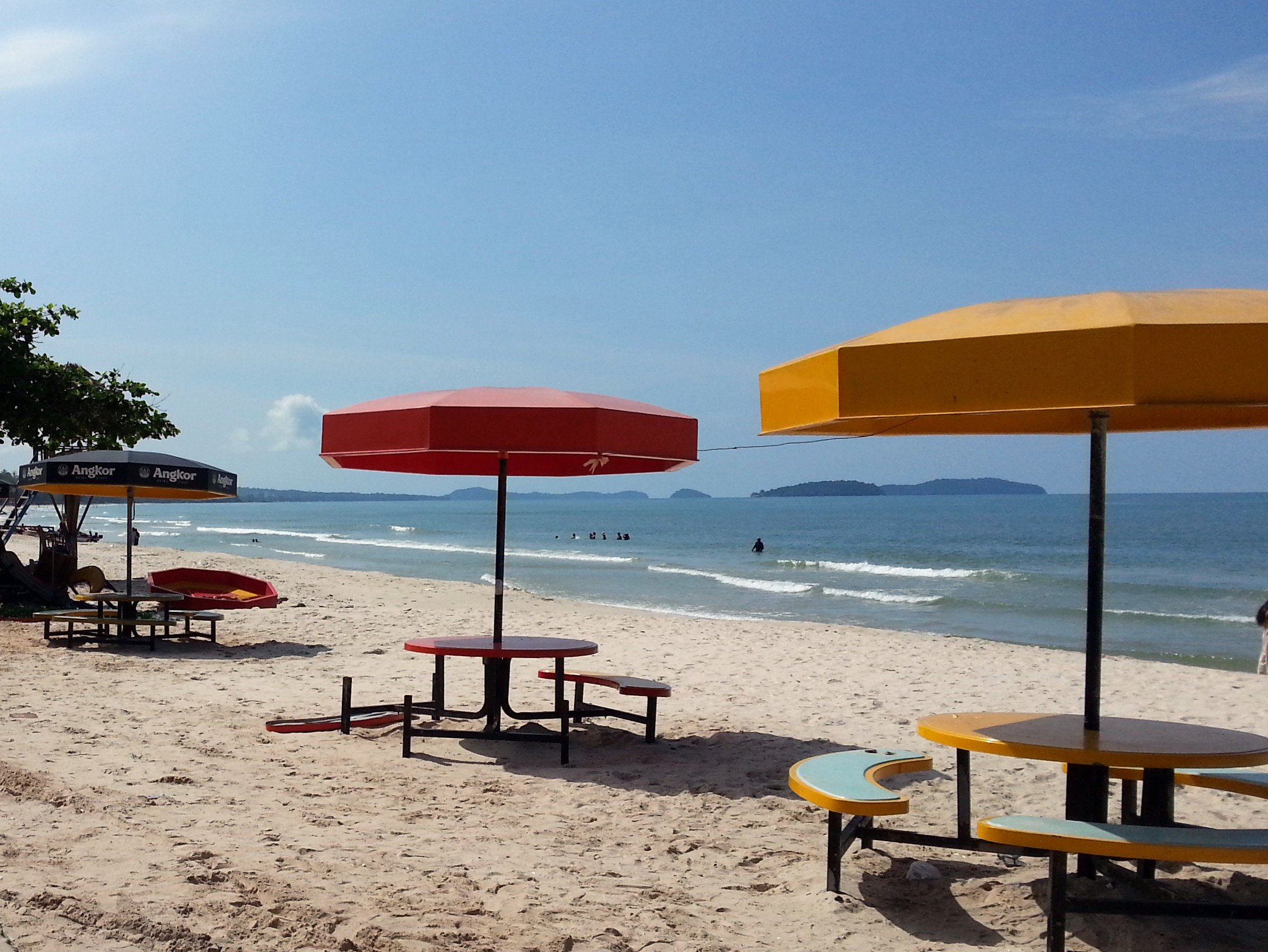 Tables and Umbrellas on Ochheuteal Beach