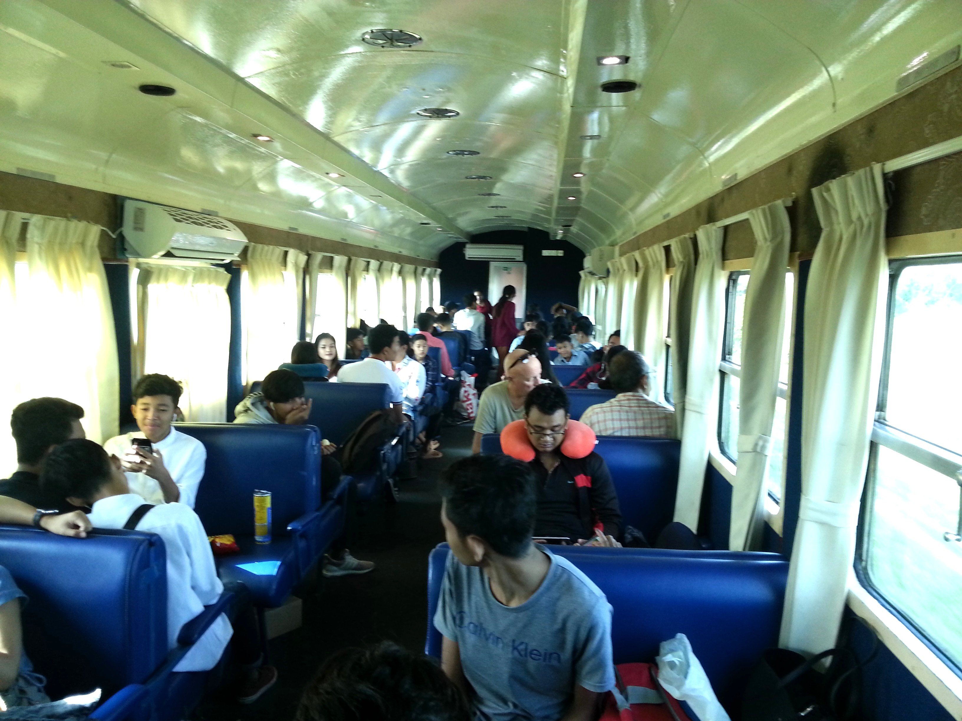 The train to Sihanoukville is popular with Cambodian holidaymakers